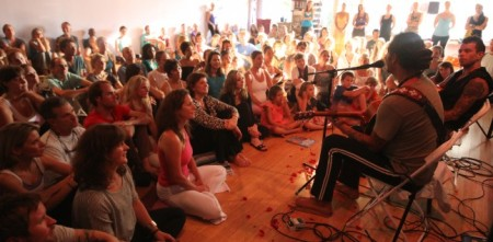 At Jivamukti Yoga studio in Charleston, SC.