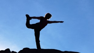 Yoga in the mountains, Freehold Creek valley, Otago, New Zealand