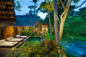 Pool by the sacred river at Fivelements in Bali, Indonesia.